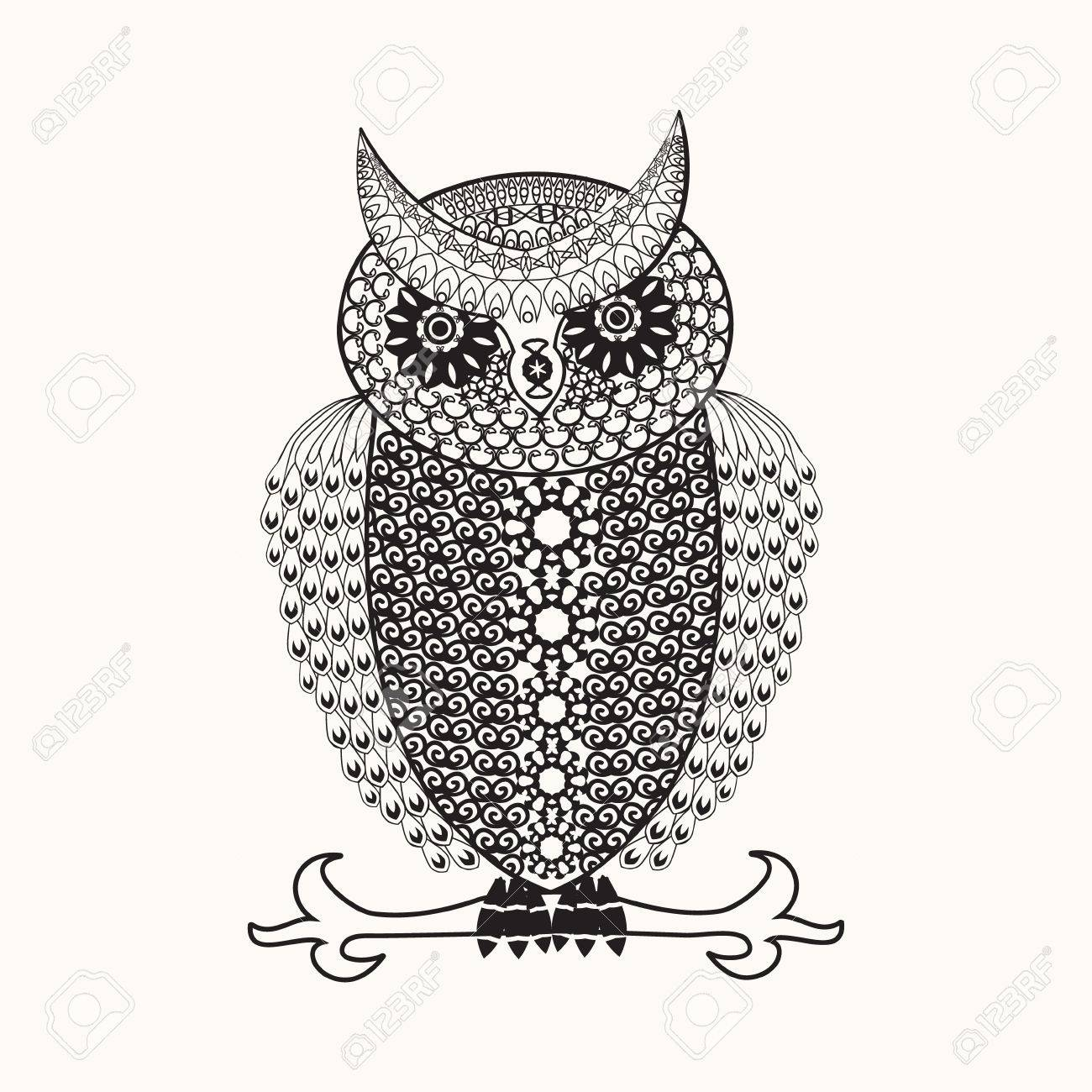 Coloring Page With Cute Owl Drawing In Style Coloring Book For
