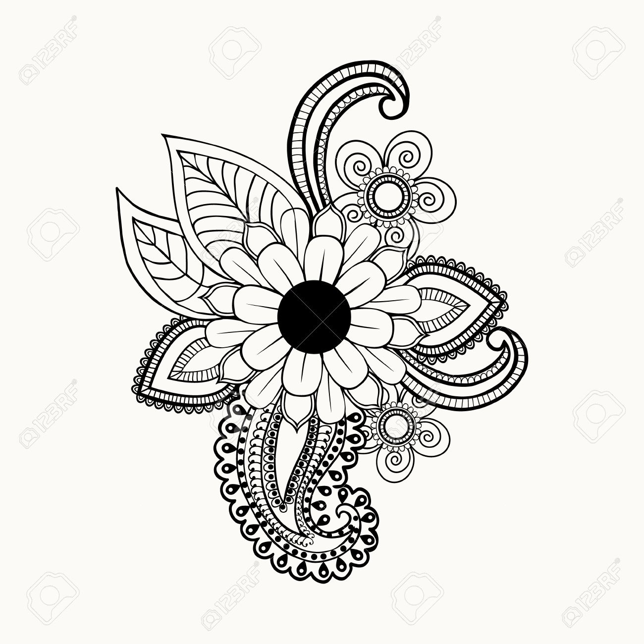beautiful black and white flowers and leaves design element hand drawn abstract henna floral