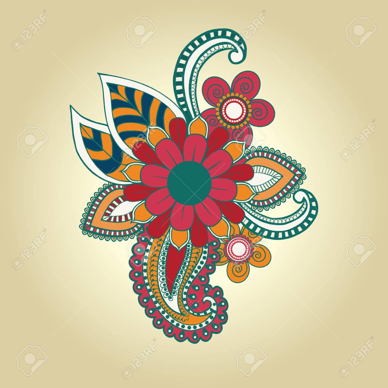 Vector Hand Draw Henna Floral Design Element Tattoo Design Ornate