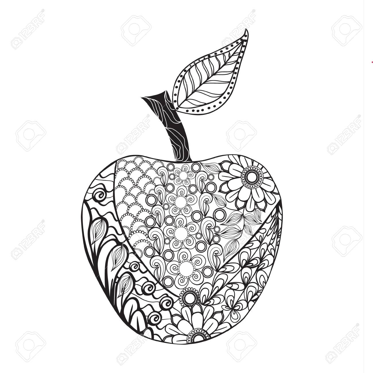 Vector Monochrome Apple Style For Coloring Book Hand Drawn