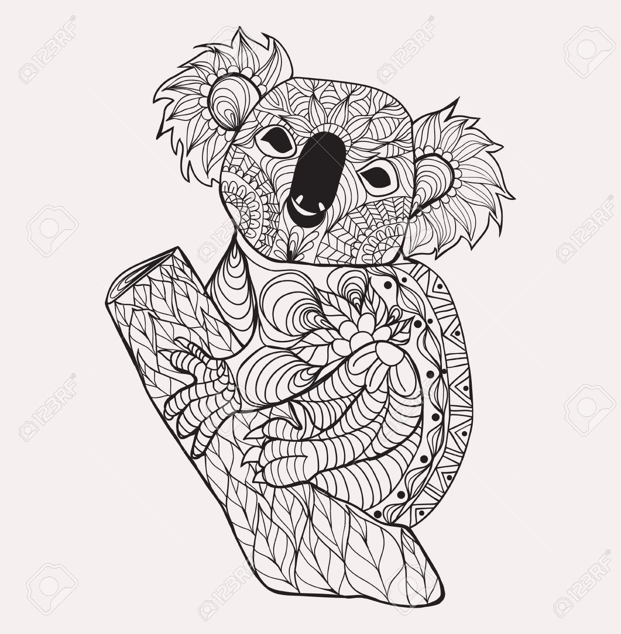Koala Main Blanche Noire Dessinee Animale Doodle Pour Coloriage