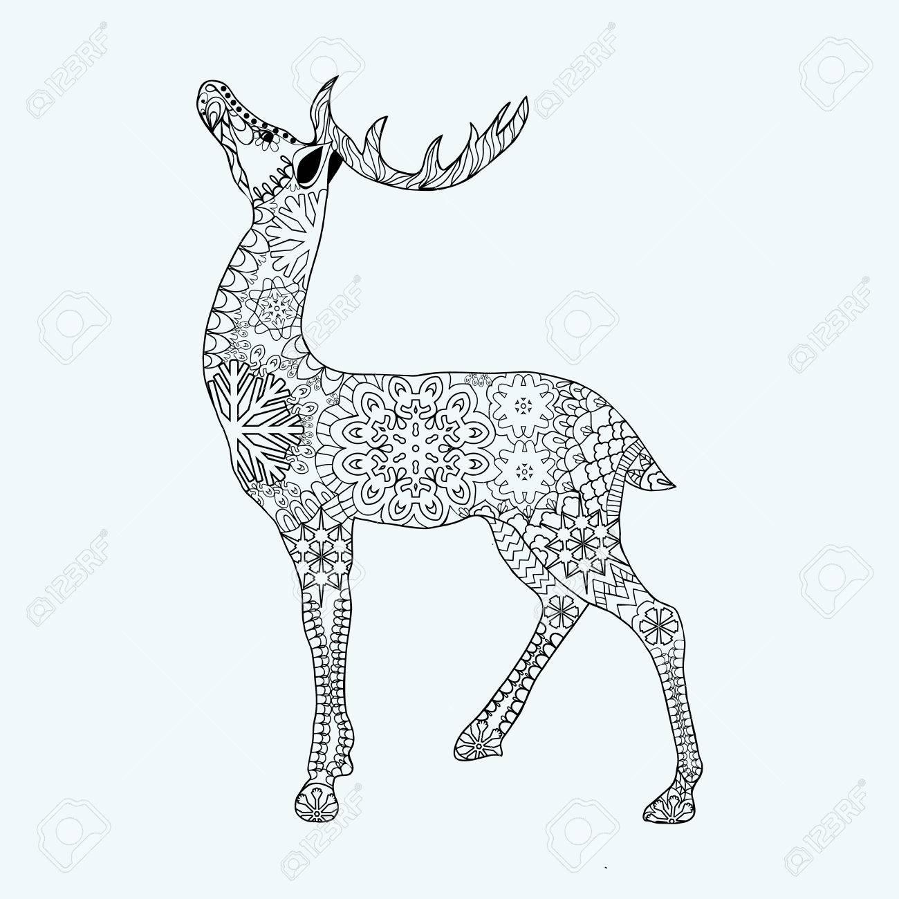 Hand Gezeichnet Weihnachten Hirsch Für Erwachsene Anti-Stress ...