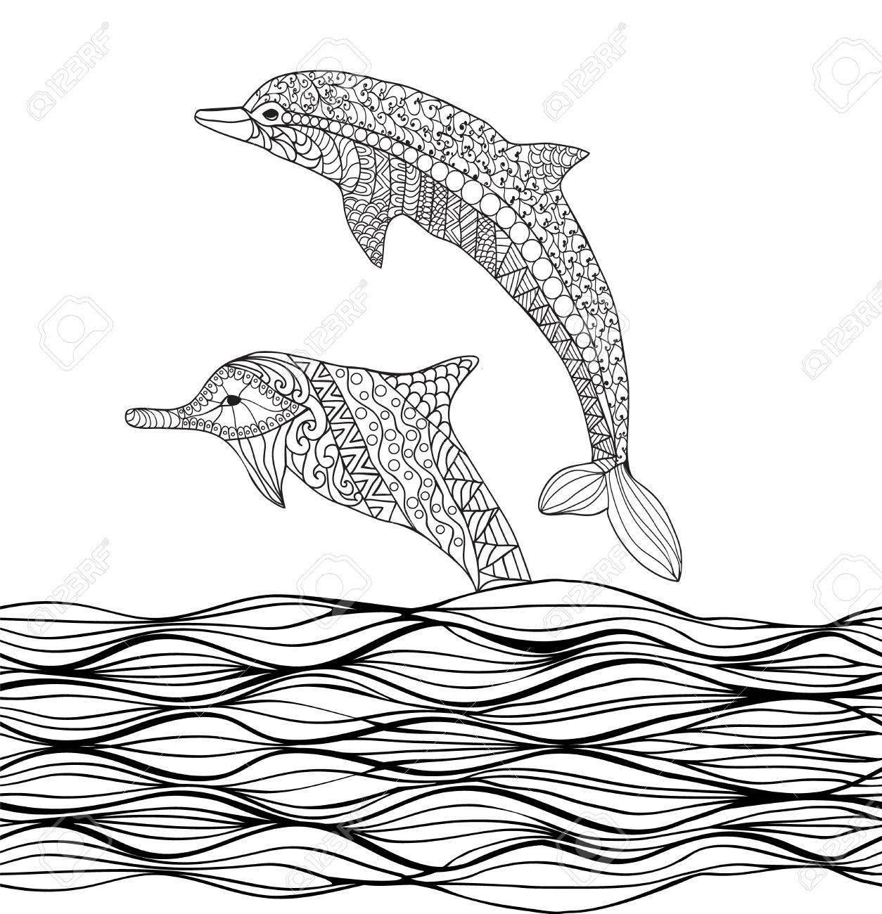 Excelente Libro Para Colorear Delfines Molde - Enmarcado Para ...