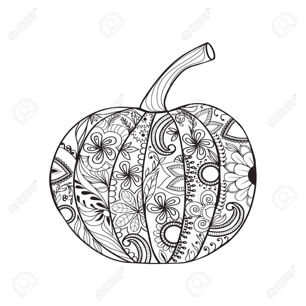 感謝祭の日ハロウィンのカボチャ落書き要素応力ぬりえページ反大人の