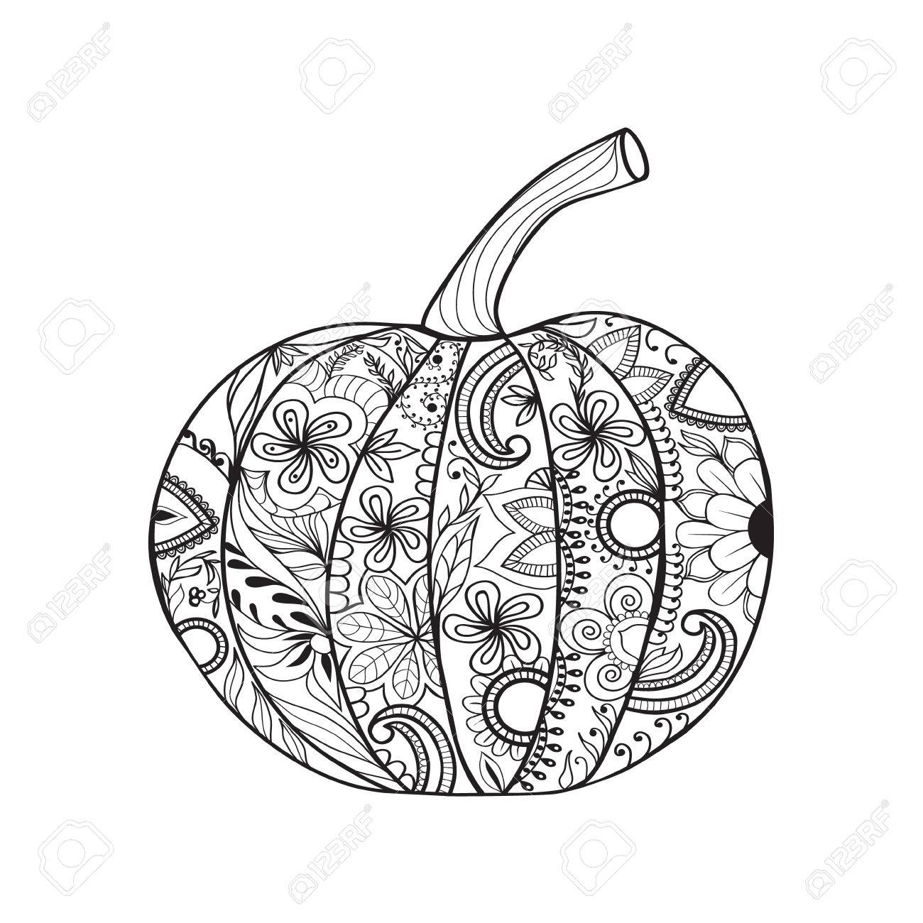 Kürbis Für Thanksgiving-Tag, Halloween. Hand Gezeichnete Skizze Für ...