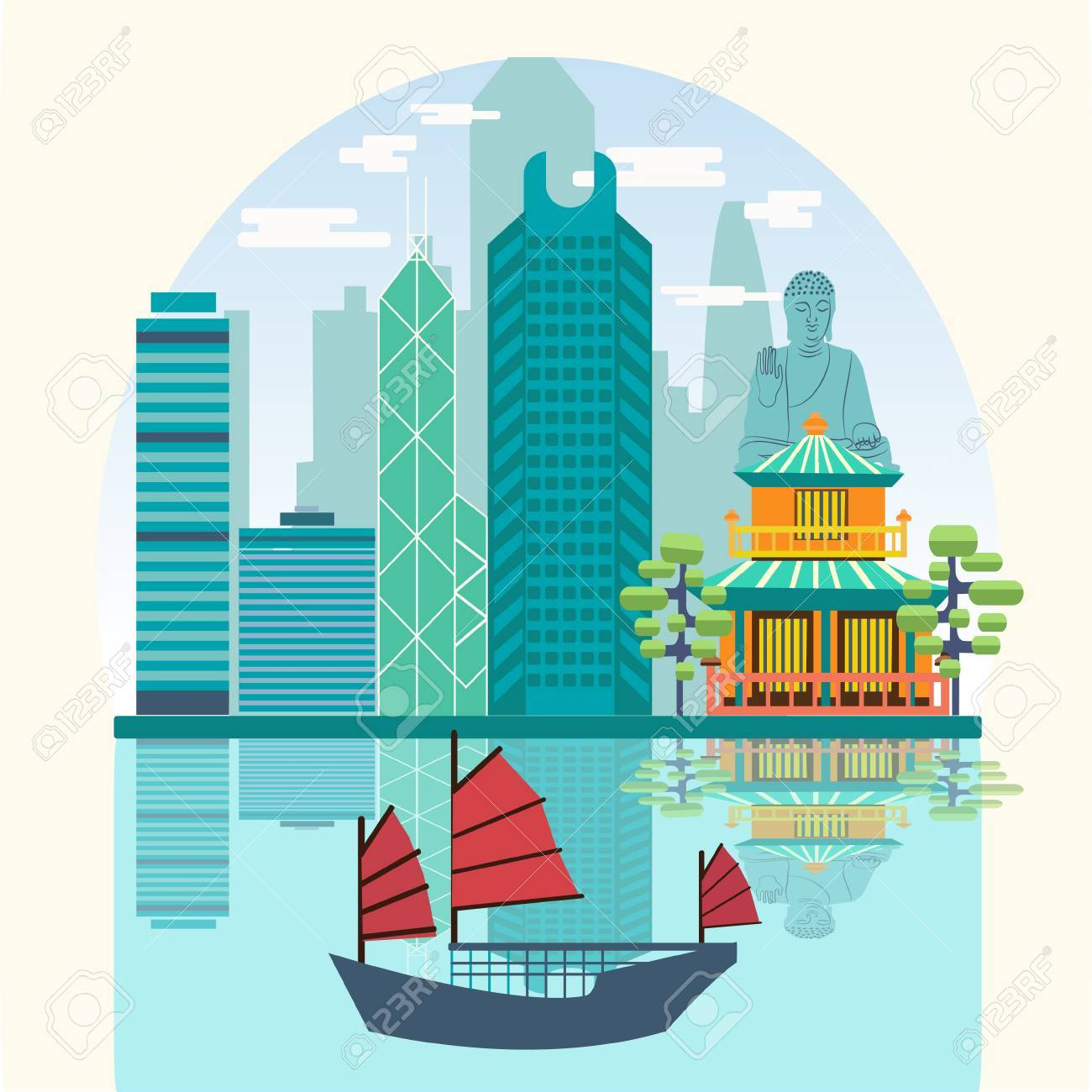 Poster design hong kong - Vector Vector Travel Skyline Harbour With Tourist Junk Attractive Hong Kong Travel Concept Poster Design