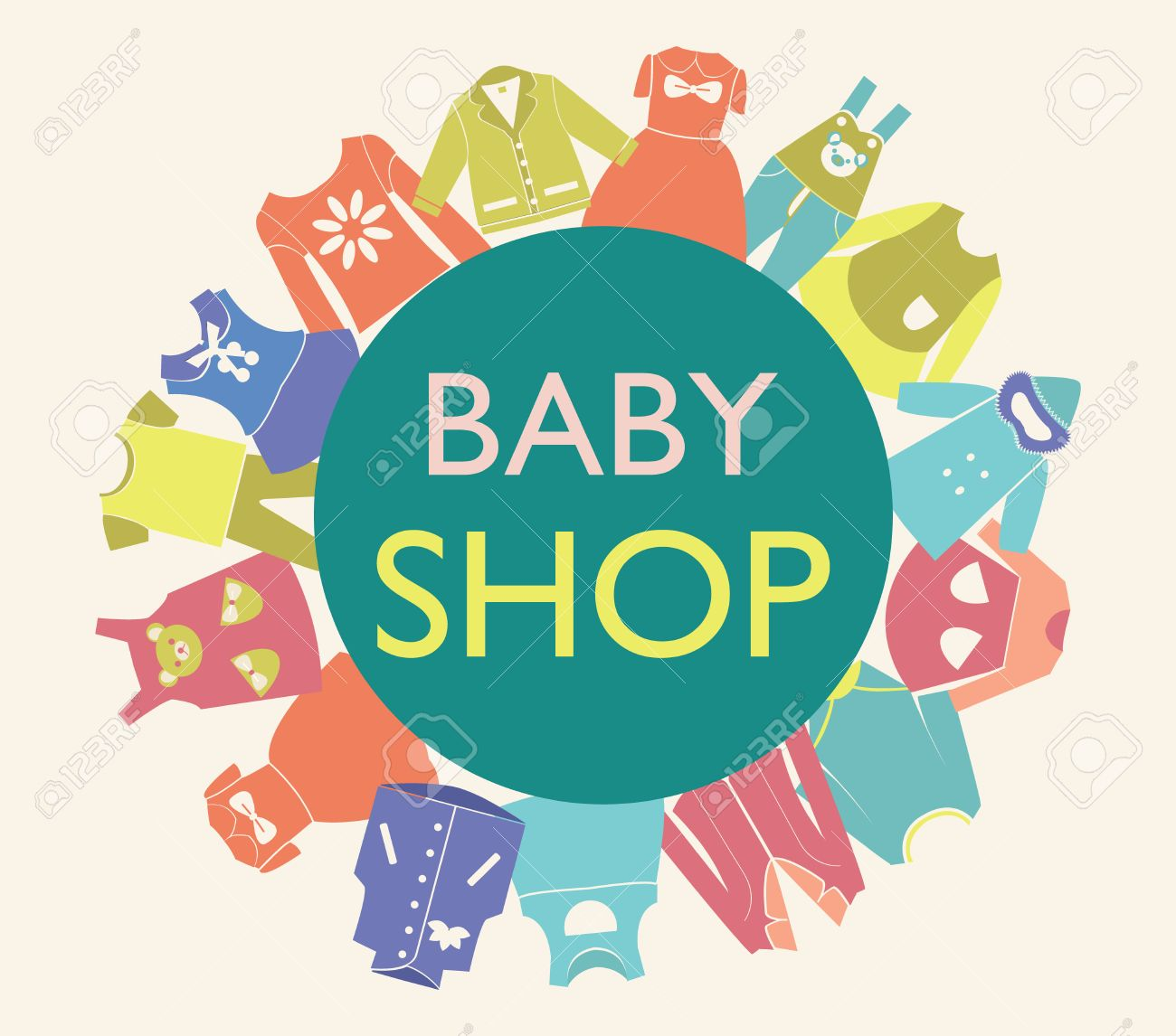Vector   Vector Background For Baby Shop, Collection Of Baby And Children  Fashion Clothes Collection.