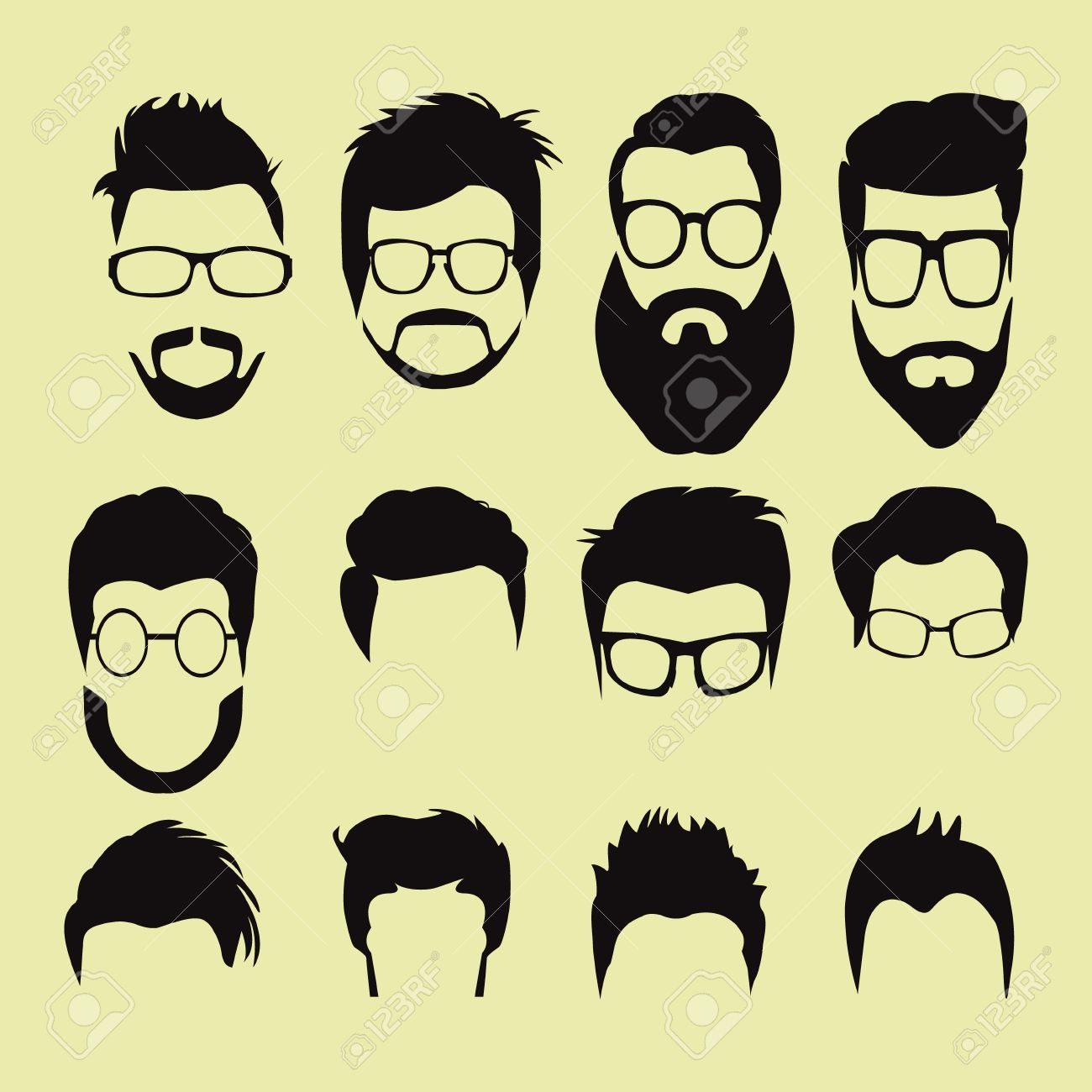 Vector Set Of Men Cartoon Hairstyles With Beards And Mustache
