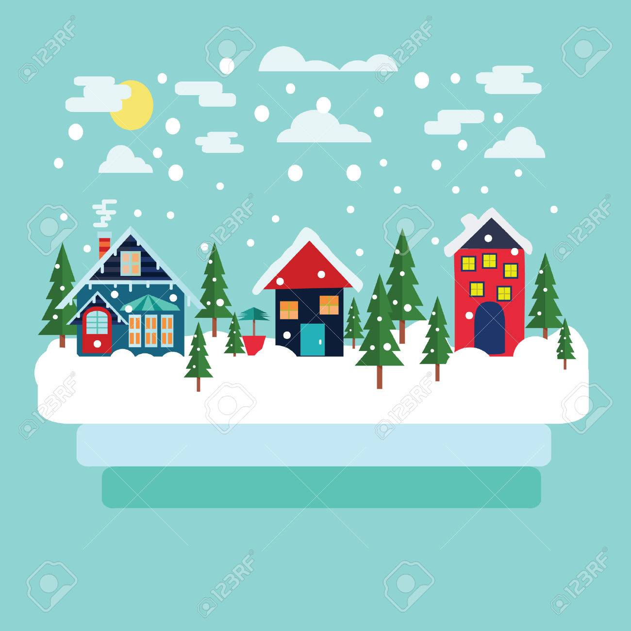 Merry Christmas greeting card design with Winter country landscape with firs in flat modern style. Stock Vector - 64553006