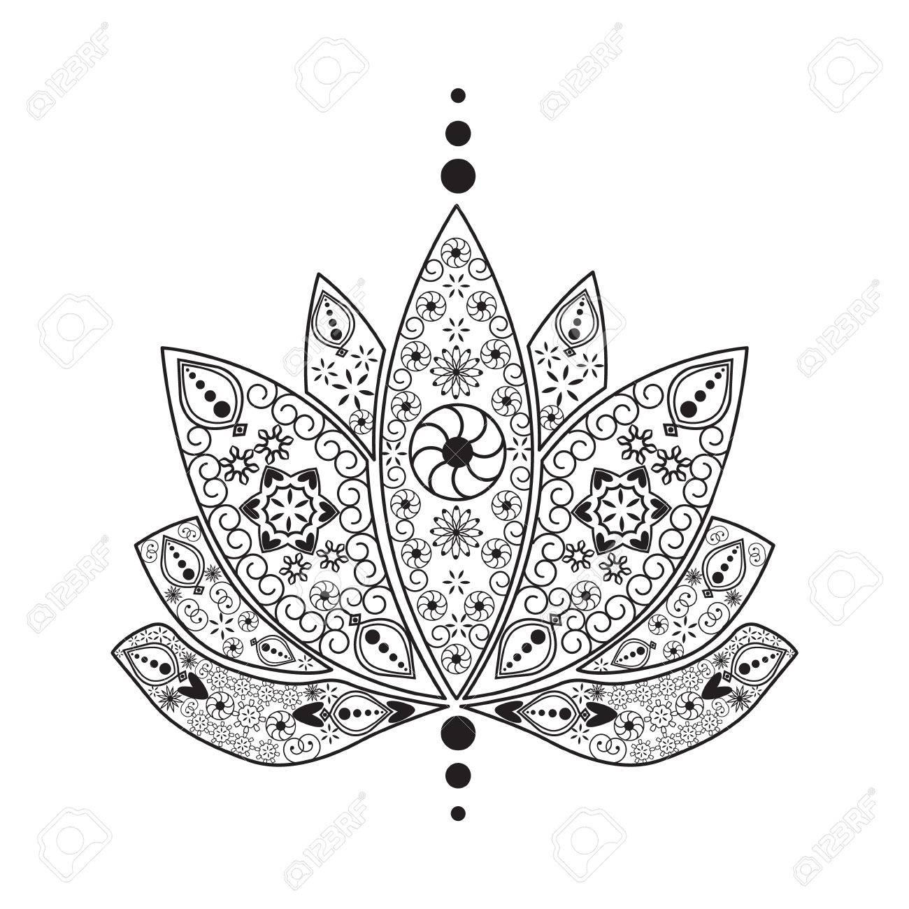 Vector Hand Drawn Tattoo Element Henna Lotus Mehndi Tattoo