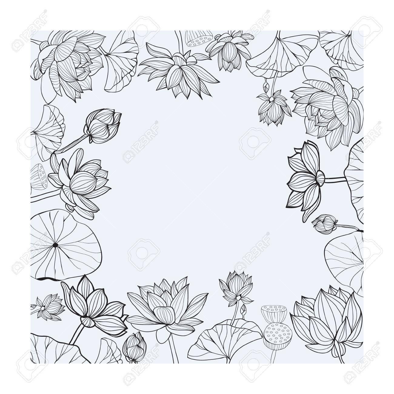 Cadre Floral Dessiné à La Main Lotus De Fleurs Noir Et Blanc Pour Le Style Desquisse De Coloriage Et Lespace Pour Le Texte