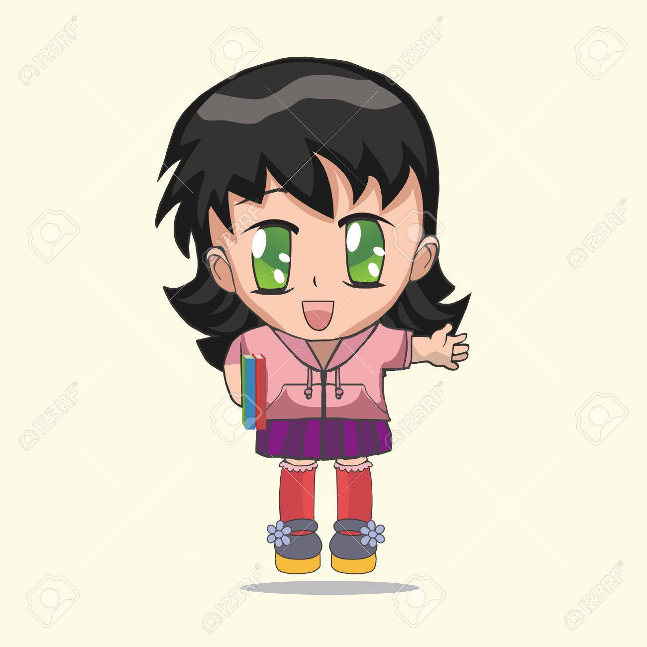 Cute anime chibi little girl anime girl with a book on a white background cartoon