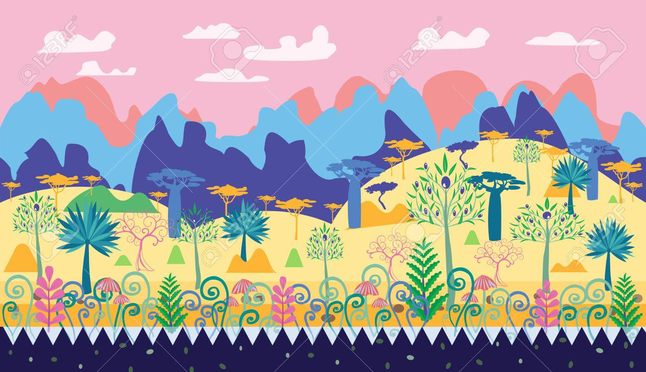 A Beautiful Magic Forest Scene Illustration, Fantasy Forest Template ...
