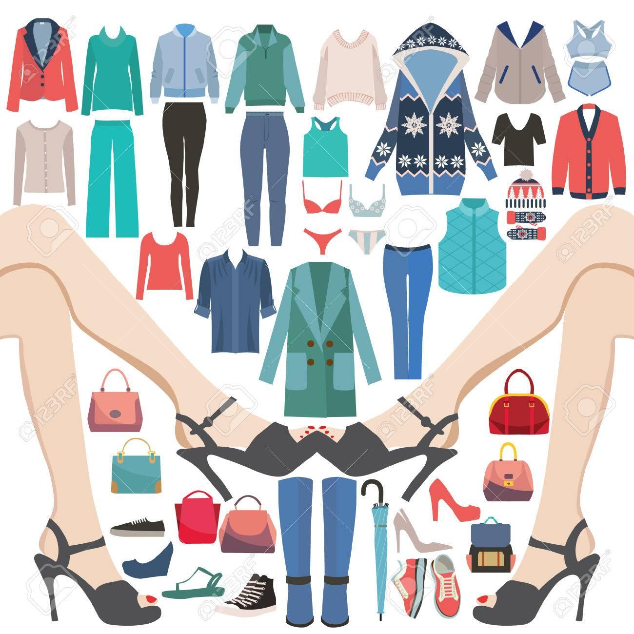 1367cde4 Vector Moda mujer ropa Ropa y accesorios icono conjunto. Colección de moda  de gran venta y compras.