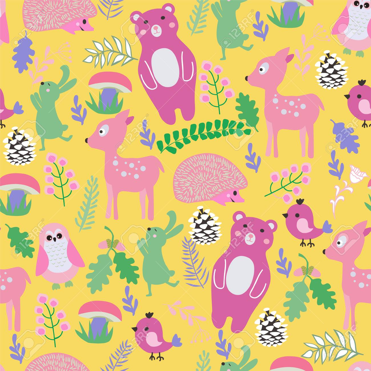 Seamless Pattern With Cute Cartoon Forest Animals Baby Shower