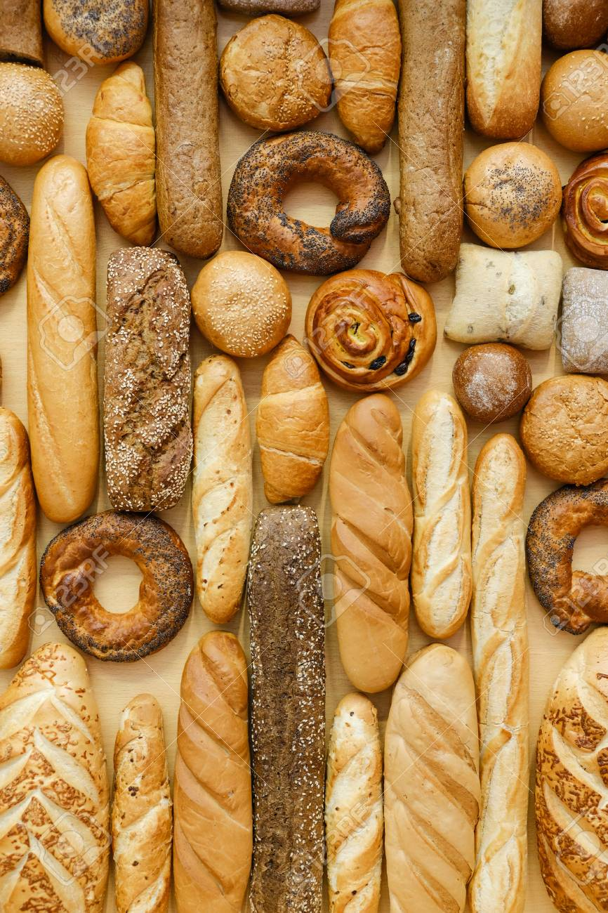 Different Type Of Baking And Bread Background Closeup Vertical.. Stock  Photo, Picture And Royalty Free Image. Image 97435492.