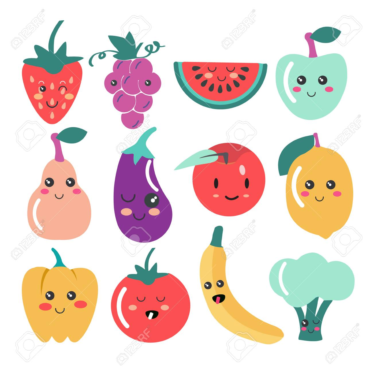 Cute Kawaii Fruit And Vegetable Icons Vector Set Of Cute Fruit Royalty Free Cliparts Vectors And Stock Illustration Image 106360227