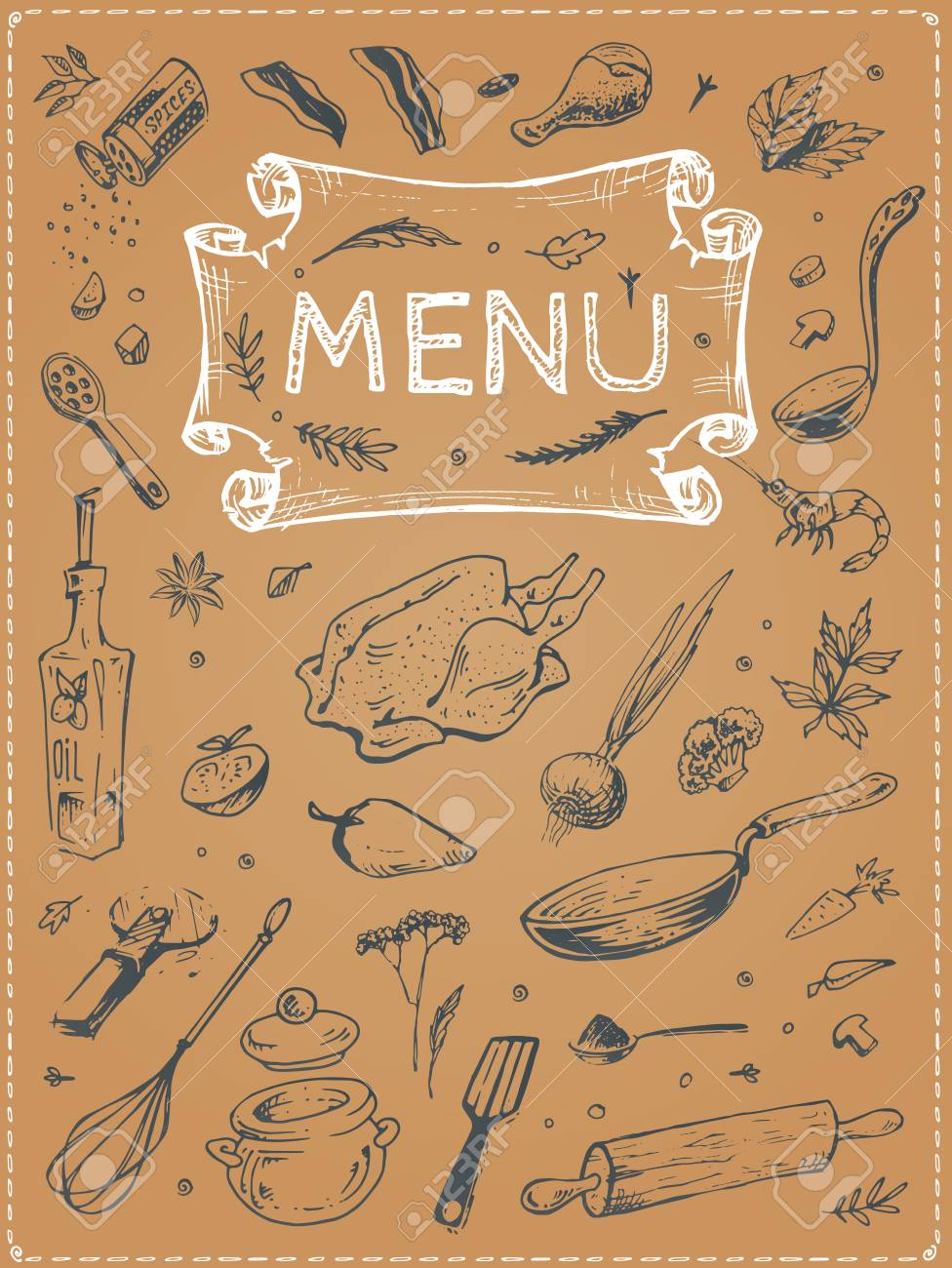 Menu List For Restaurants Paper Cardboard Silhouettes Sketch Food