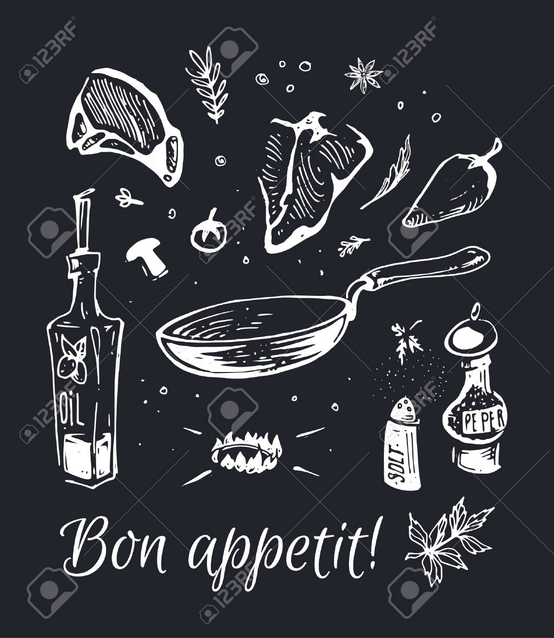 Hand-drawn food - chalk on a black board fried meat steaks in a frying pan with olive oil and spices. Isolated vector composition for design of posters and black walls in a cafe and a restaurant - 110853175