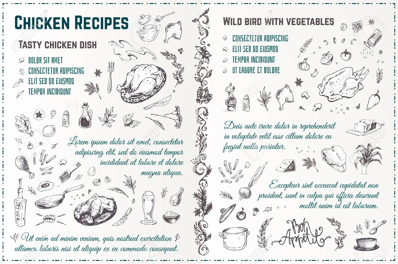 Chicken dishes recipe hand drawn sketch. Engraved style doodles of roasted turkey with spices and vegetables. Vintage vector menu design - 127149122