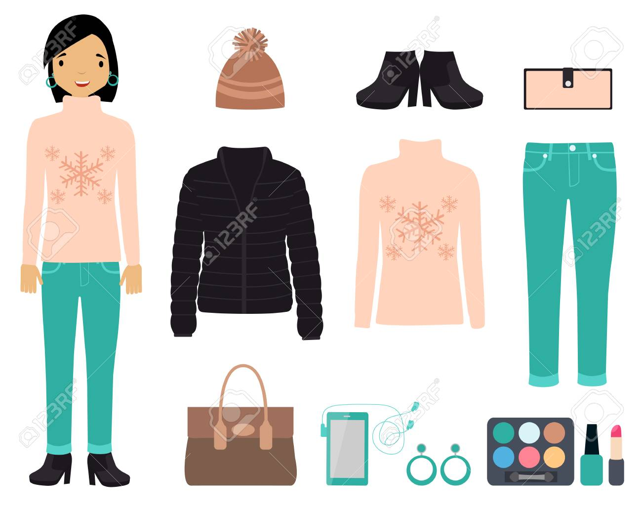 4ac65253d6 Set of fashionable winter clothing and accessories. Vector illustration Stock  Vector - 36065773