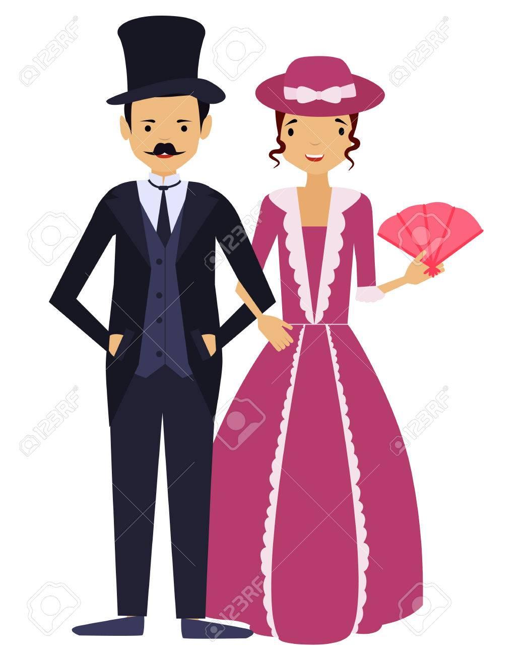 Damas Y Caballeros. Hombre Y Mujer En La Ropa Vintage. Ilustración ...