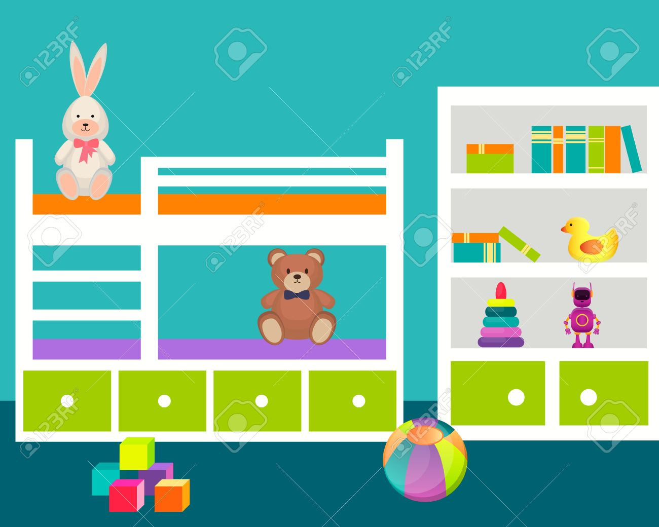kids room with a bed and toys. vector illustration royalty free