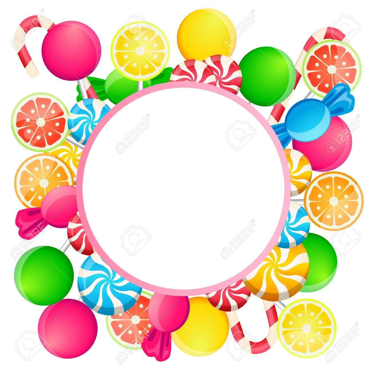 Karte Süßigkeiten. Runde Rahmen Und Süßigkeiten. Vektor-Illustration ...
