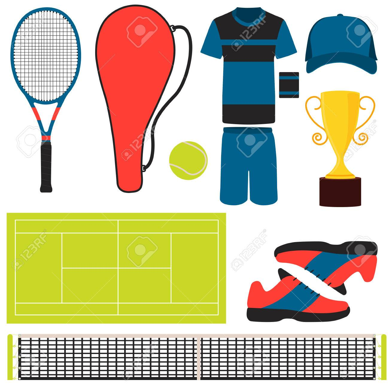 Set Tennis Clothes And Equipment Vector Illustration Royalty Free Cliparts Vectors And Stock Illustration Image 53035129