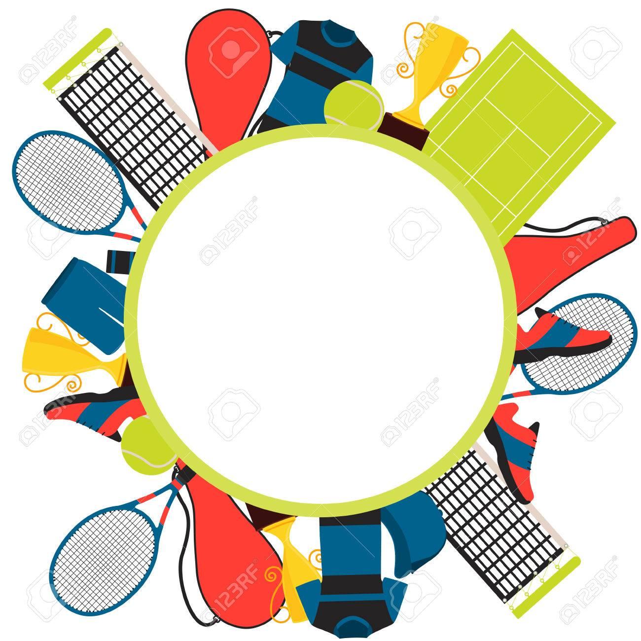 Rahmen Tennis. Kleidung Und Ausrüstung. Vektor-Illustration ...