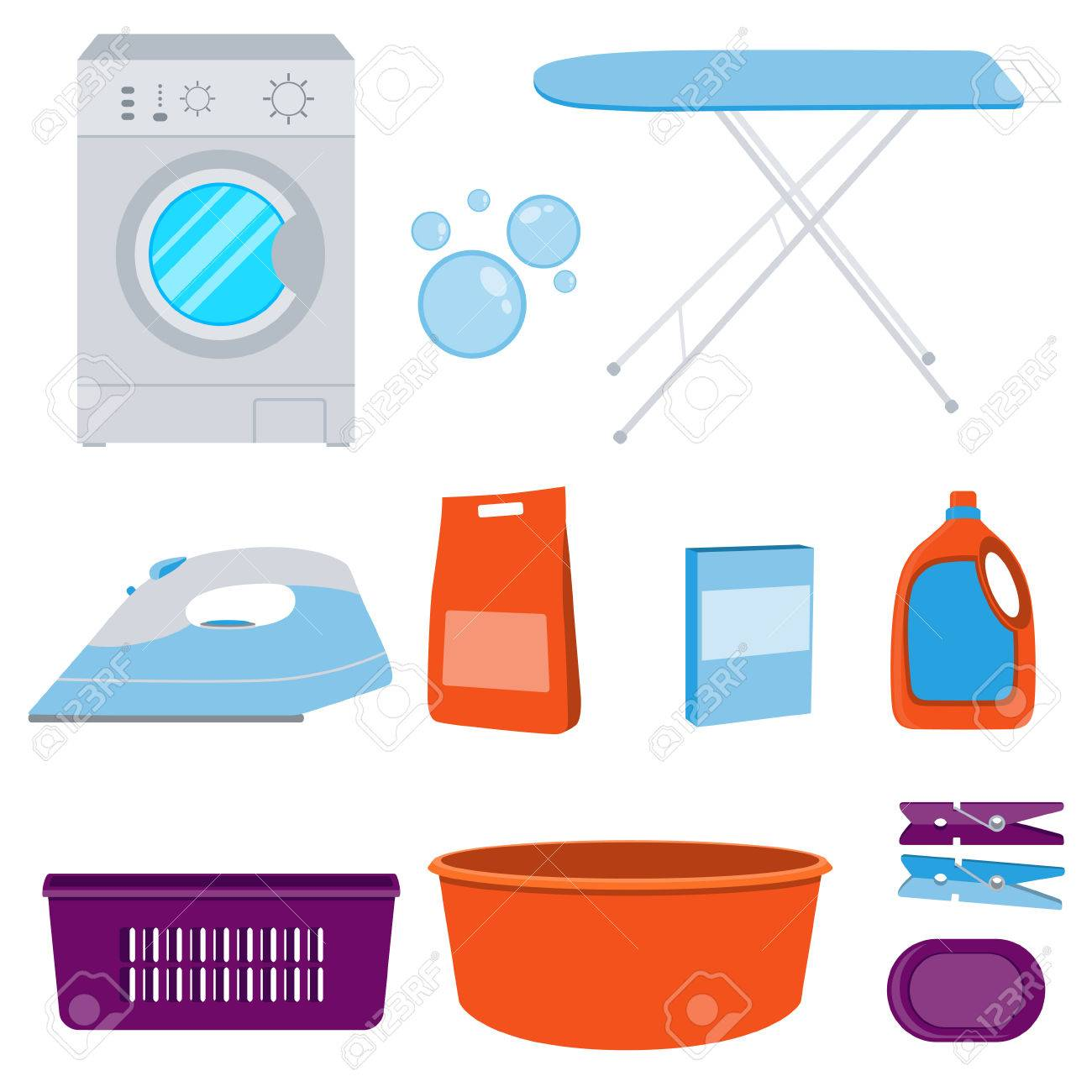 Laundry Detergent Clipart icons set laundry. washing machine and laundry detergent
