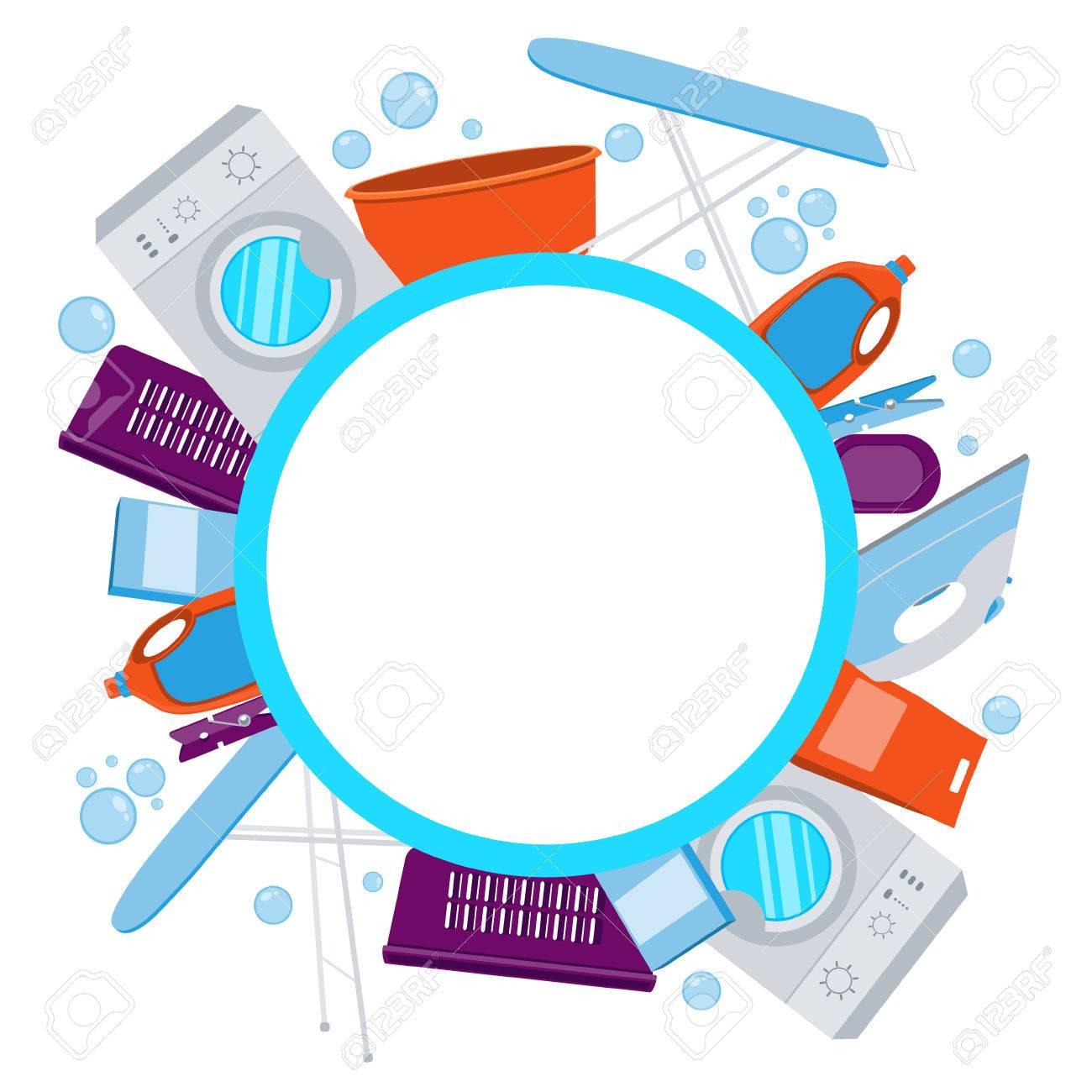 Laundry Frame Frame Laundrywashing Machine And Laundry Detergentillustration