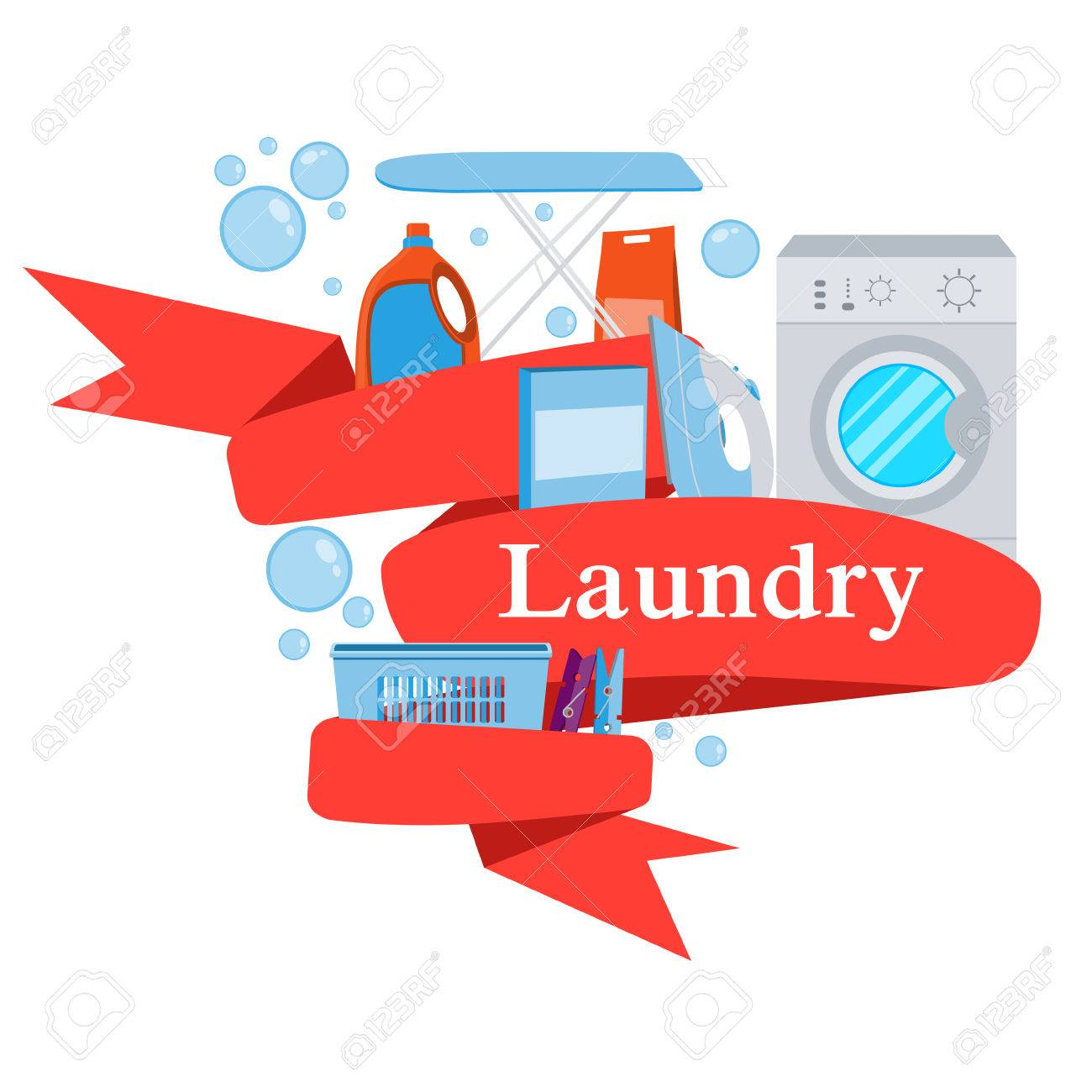 Laundry Detergent Clipart red ribbon laundry. washing machine and laundry detergent