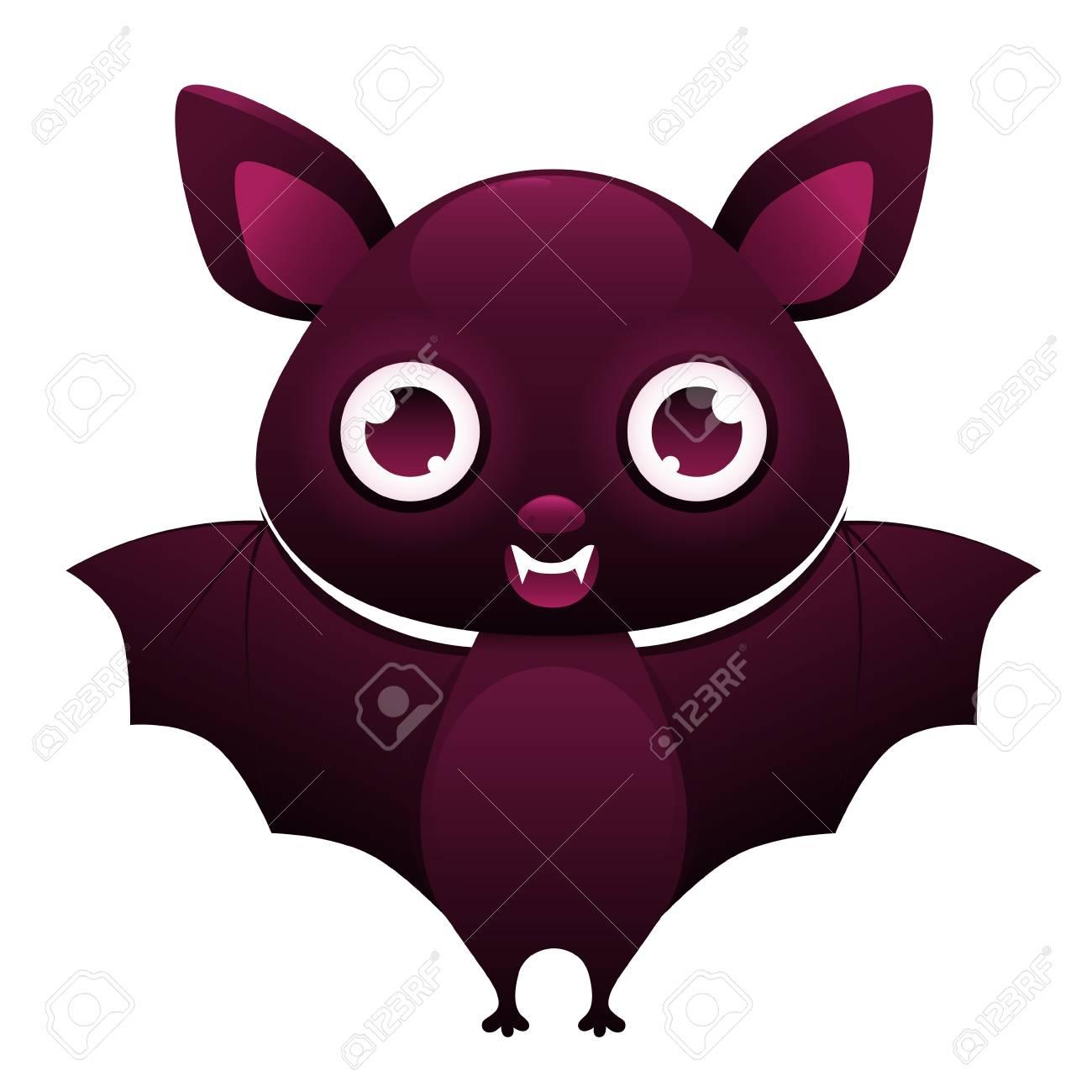白い背景で隔離の吸血コウモリかわいい漫画のキャラクターベクトル図の