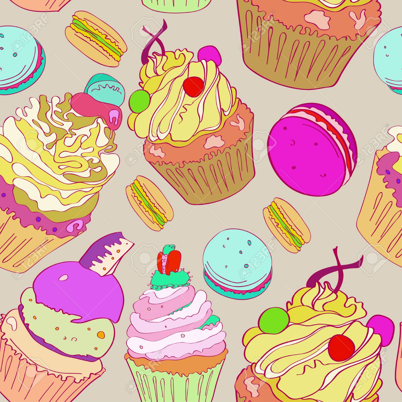 Illustration With The Image Of Cakes Bright Multicolored Pattern