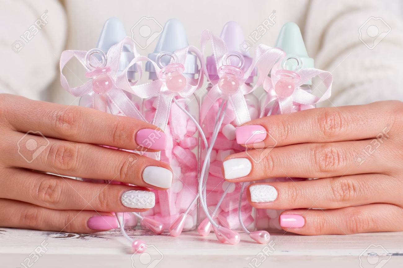 Pink Bottles For Baby Nipple For Baby Girl Baby Shower White Pink