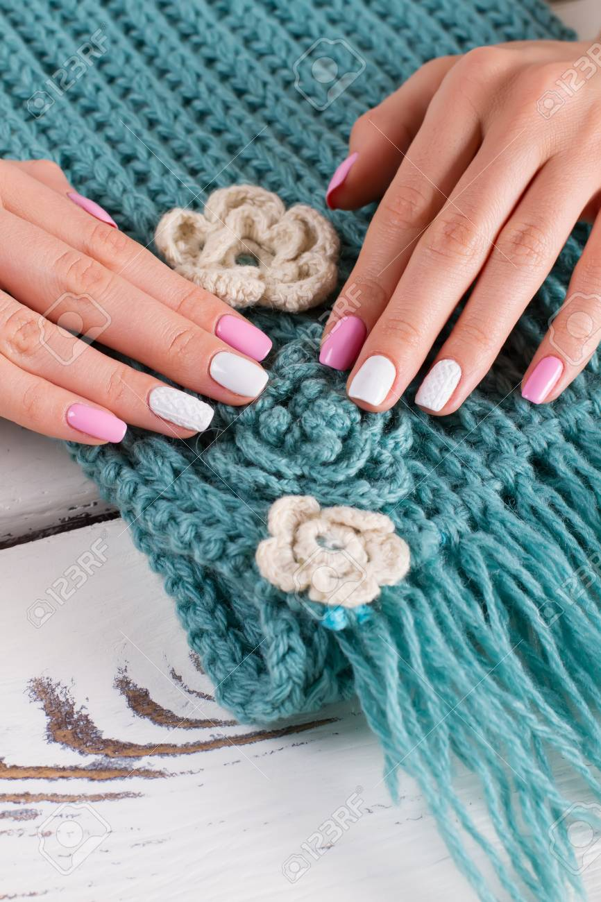 Beautiful Handmade Knitted Scarf Women S Hands With A Nice Manicure Stock Photo Picture And Royalty Free Image Image 80115298
