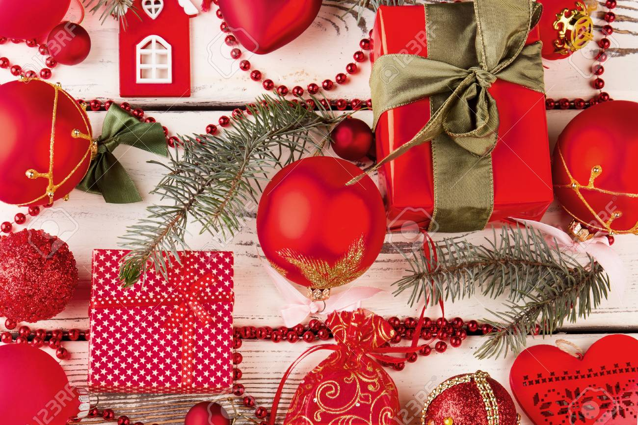 Beautiful Christmas Background With Red Decorations And Gifts ...