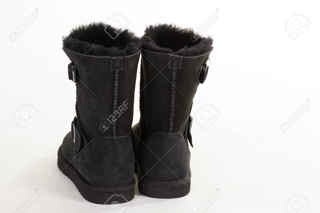Backs Of Black Suede Winter Boots