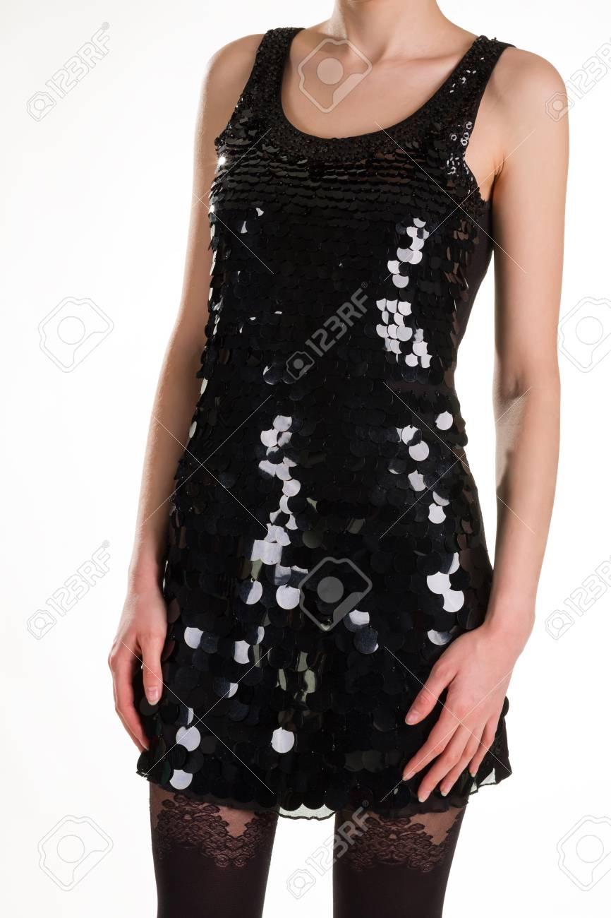 Hermoso Vestido Brillante Y Medias Sexys Vístete Para Una Fiesta Chica En Vestido De Noche