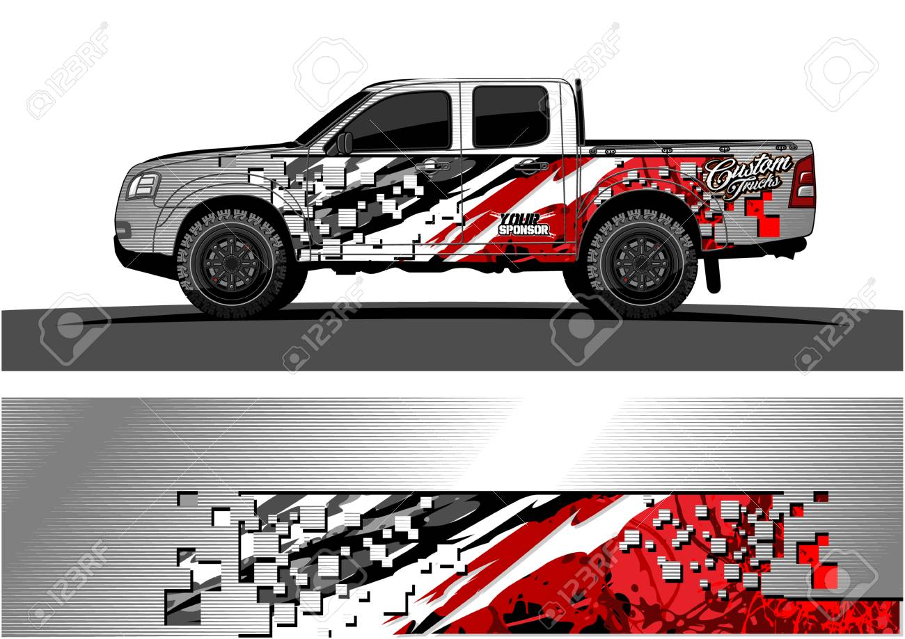 Truck graphic vector. Abstract grunge background design for vehicle vinyl wrap - 100181785