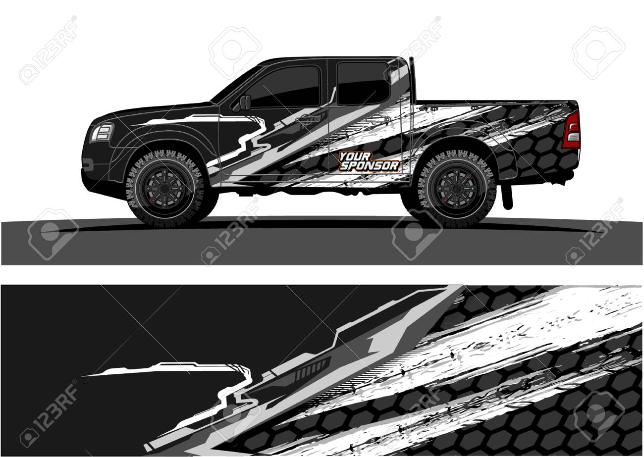 Truck graphic vector abstract grunge background design for vehicle vinyl wrap stock vector 100181789
