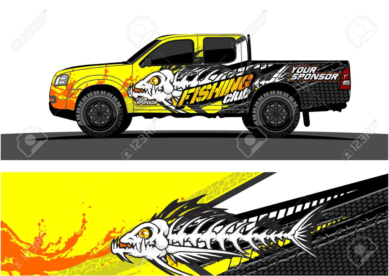 Truck graphic vector. Abstract grunge background design for vehicle vinyl wrap - 100181791