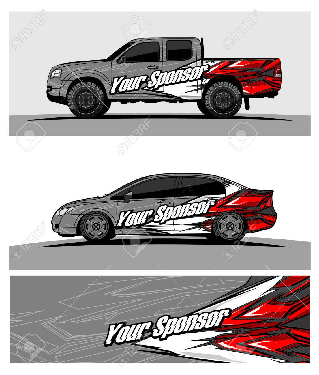Car Graphic Vector Abstract Racing Shape Design For Vehicle