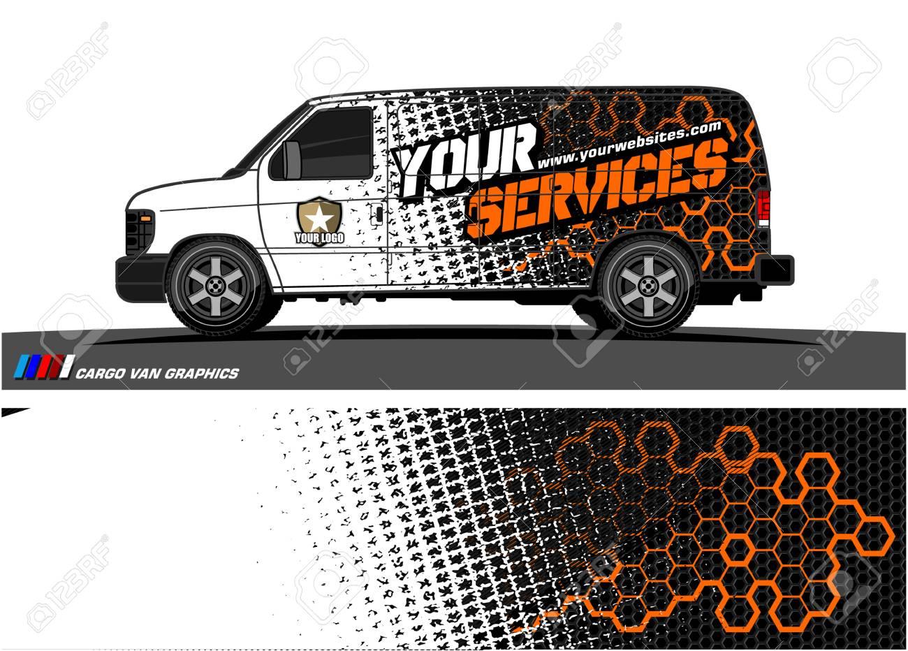 Cargo van graphic vector. abstract grunge background design for vehicle vinyl wrap - 100510454