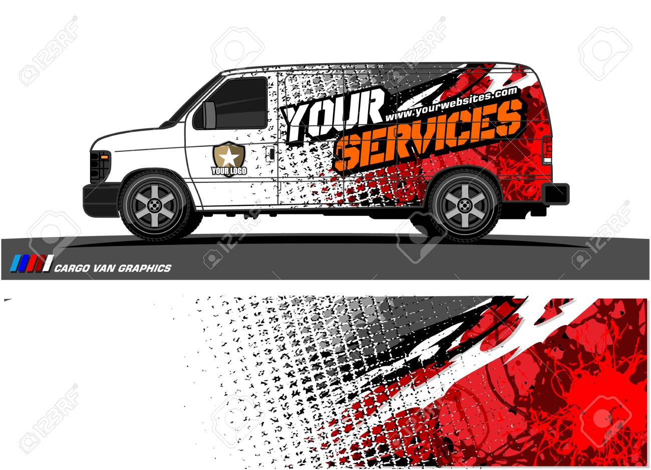 Cargo van graphic vector abstract grunge background design for vehicle vinyl wrap stock vector