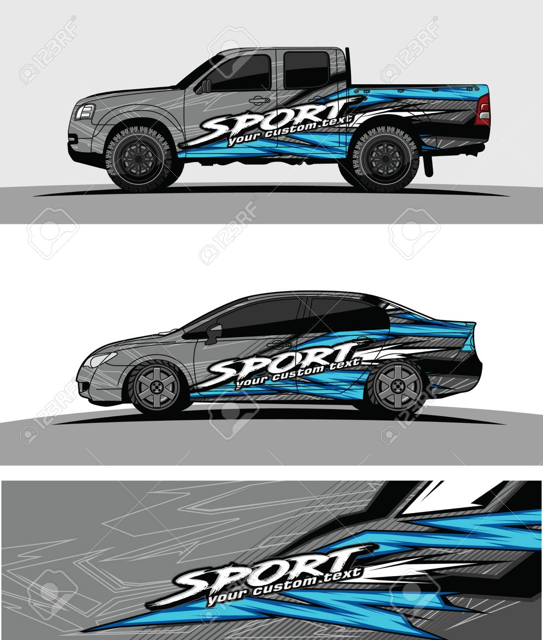 Pickup truck graphic vector abstract racing shape design for vehicle vinyl wrap background stock vector