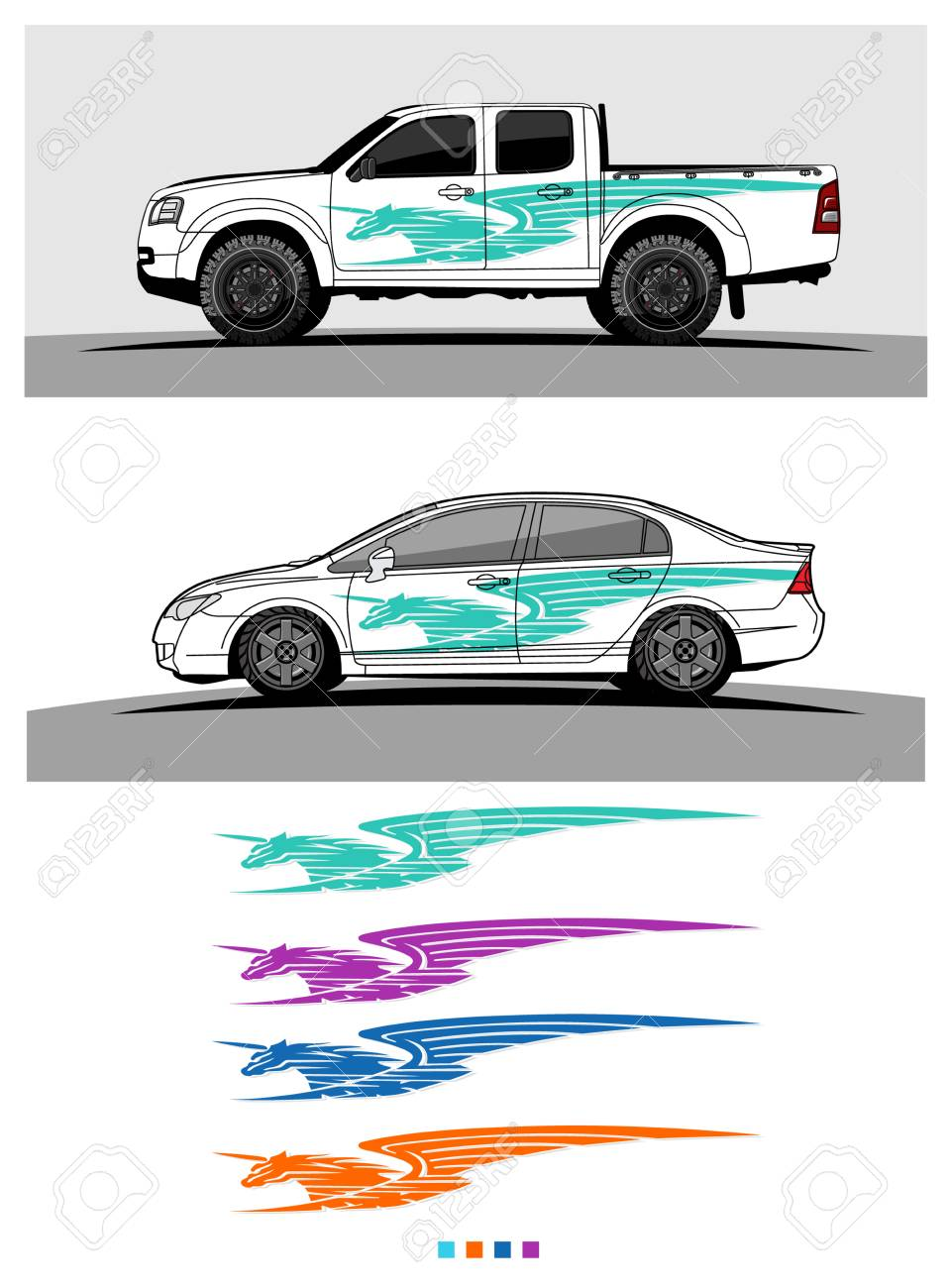 Pickup truck graphic vector abstract racing shape design for vehicle vinyl wrap stock vector
