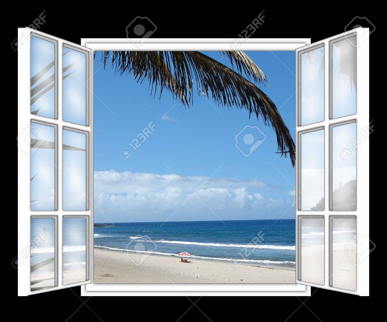 Open window beach - Seen On The Sea Beach Of Dream Through The Window Symbolizes The Holidays In