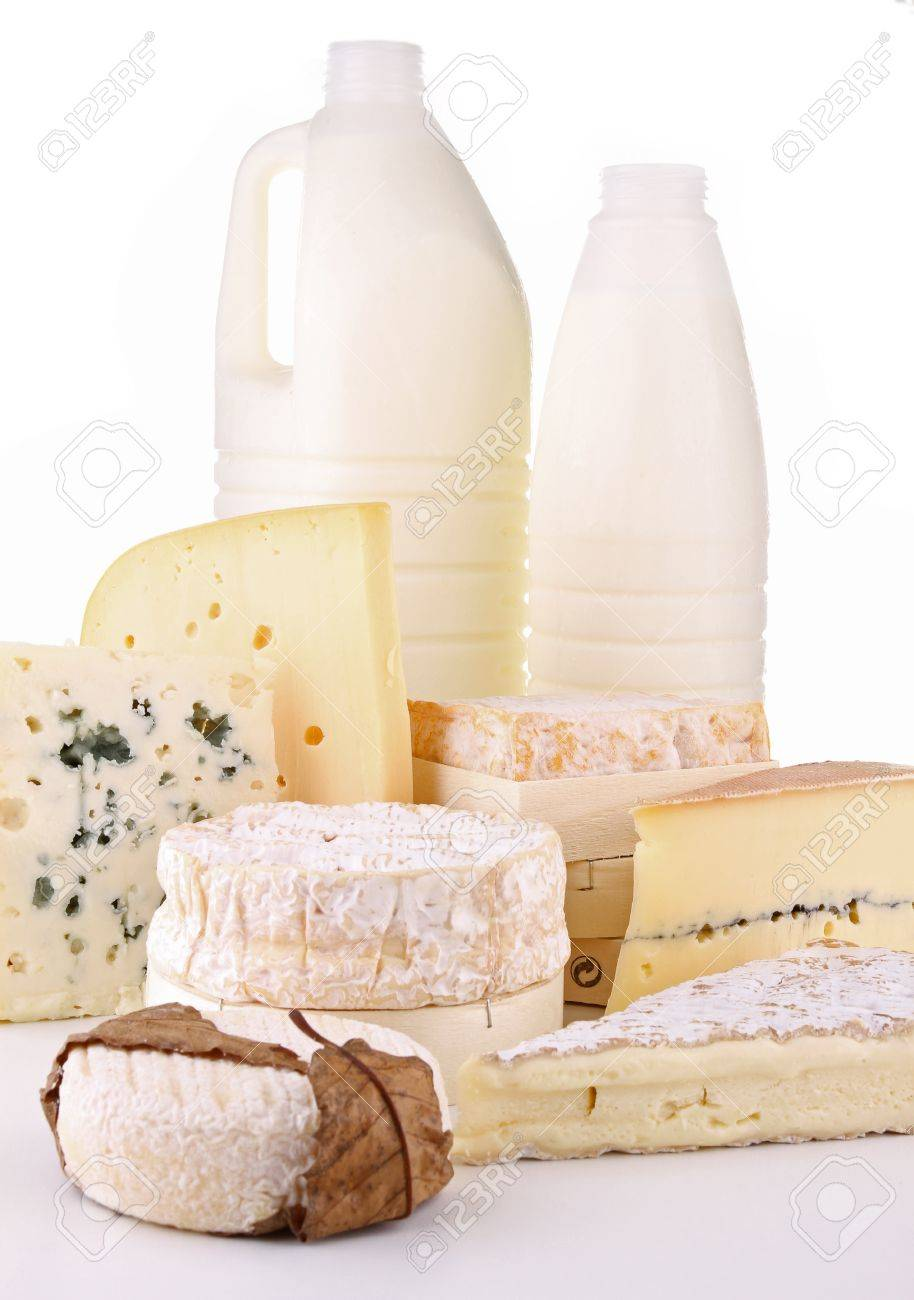 dairy products on white background Stock Photo - 10148084